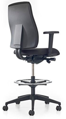 Bureaustoel Pro-Basic Counter - Lucia Zwart (5800) gestoffeerd - Rubber wielen-3