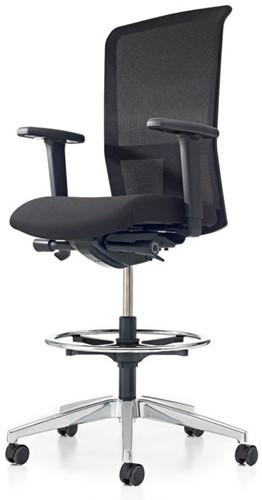 Bureaustoel Pro-Net Counter - Lucia Zwart (5800) gestoffeerd - Rubber Wielen